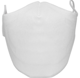 A washable and reusable white colored cloth face mask with comfortable elastic ear bands